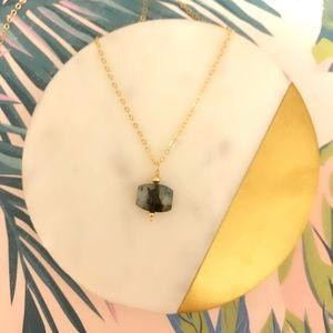 14k Faceted Labradorite Polygon Necklace
